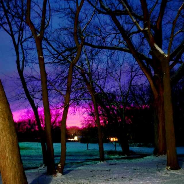 Beautiful sunrise on a cold am