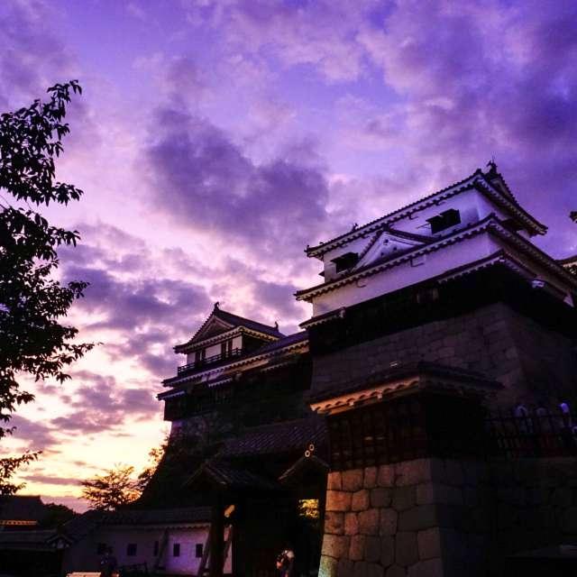 紫雲に染まる松山城