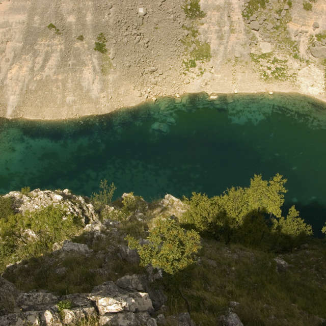 Red and blue lake in Croatia