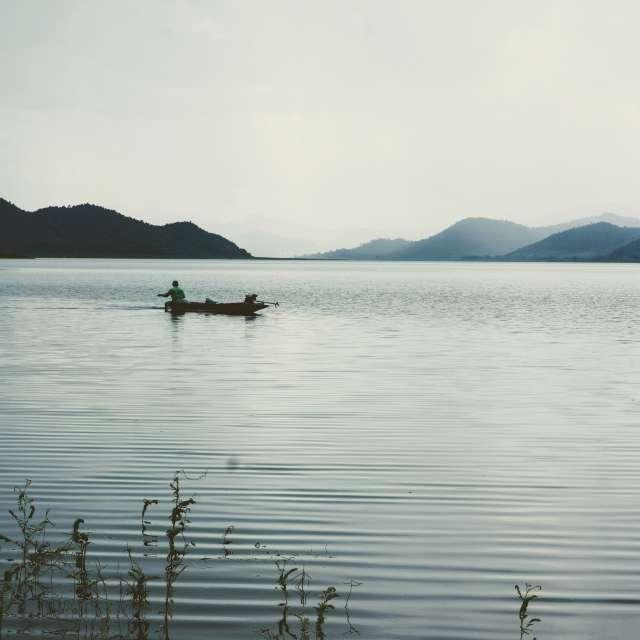 Fischerman on the sleepy lake