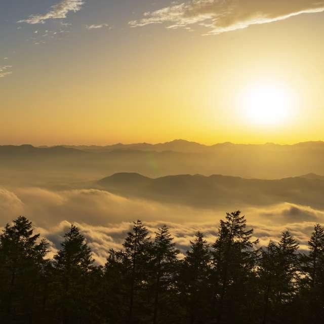 富士山四合目の雲海に夕日が当たる絶景