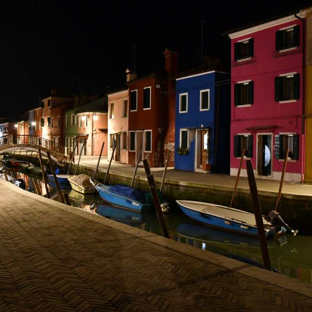 colourful houses at night