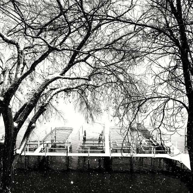 snowing Okoboji Iowa