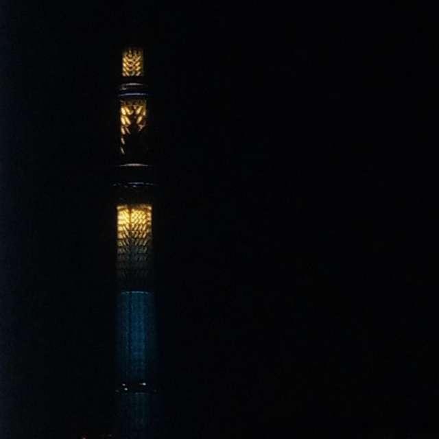 ひとりぼっちのスカイツリー、日曜日の夜。