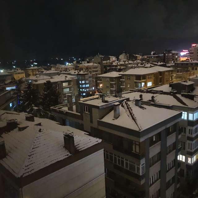Overnight snowy city