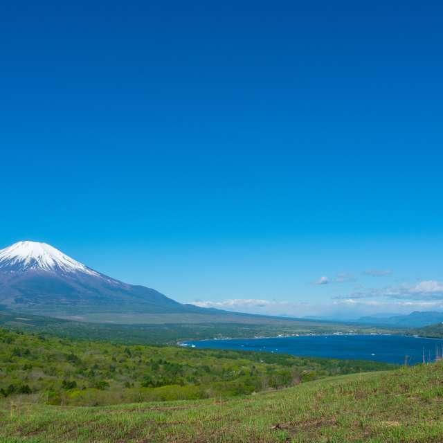 青空にそびえる富士山と山中湖