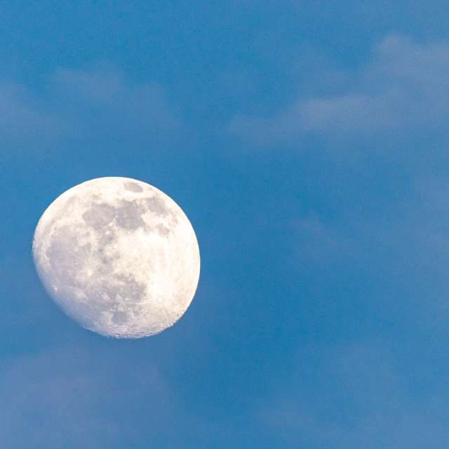 Moon on the sunny day