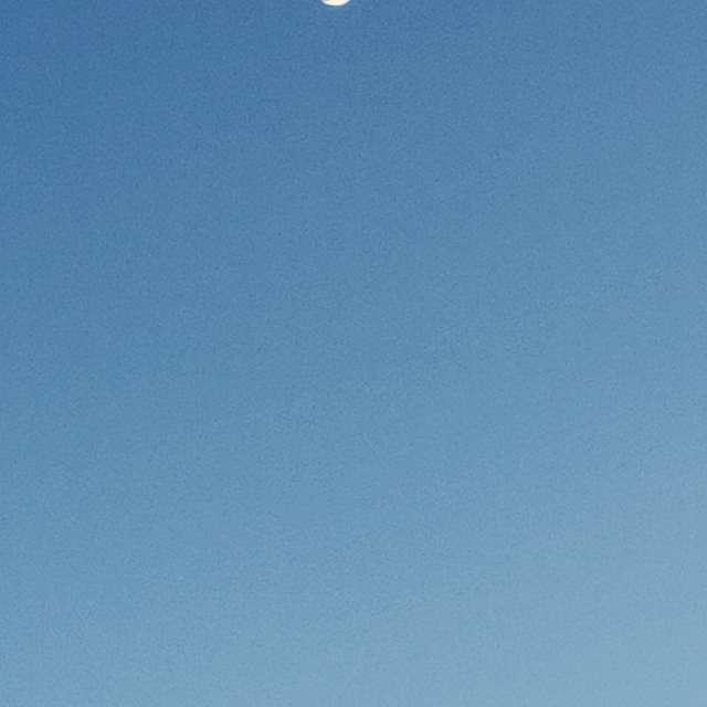 Atardecer con luna creciente.