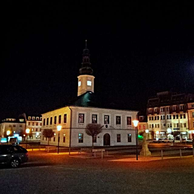 Square in Jeseník evening