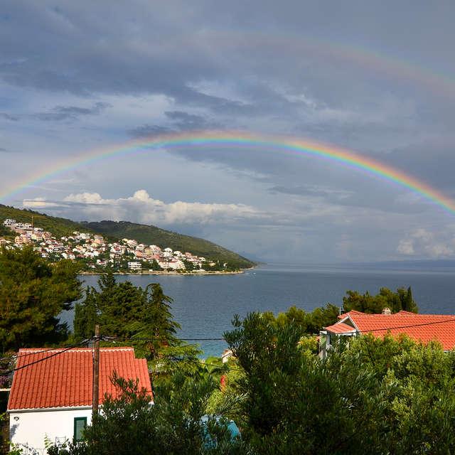 Rainbow over the houses