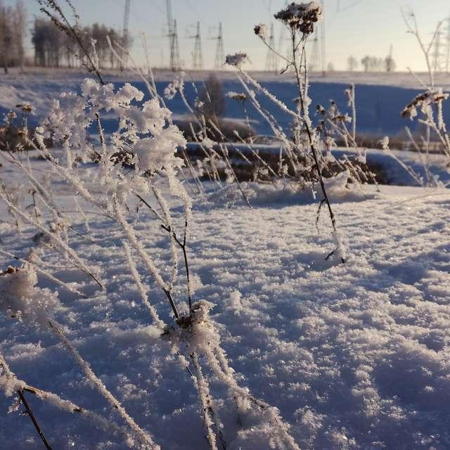 Закат в солнечный зимний день