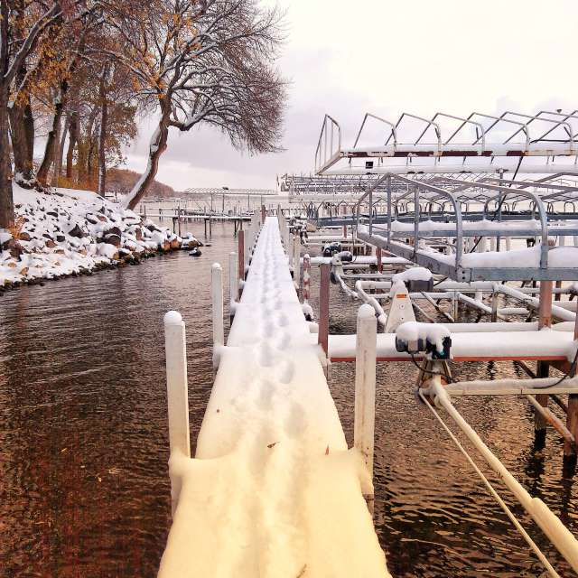 snow on dock early winter
