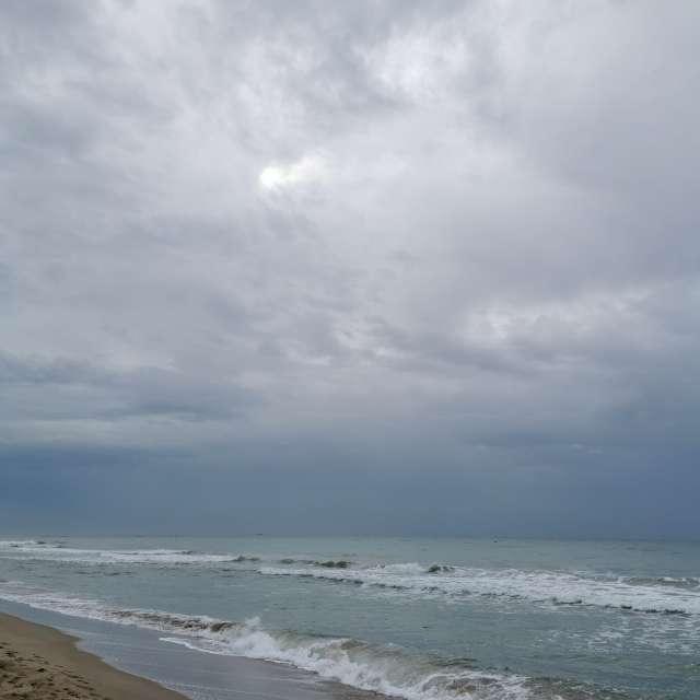 Nublado en la playa