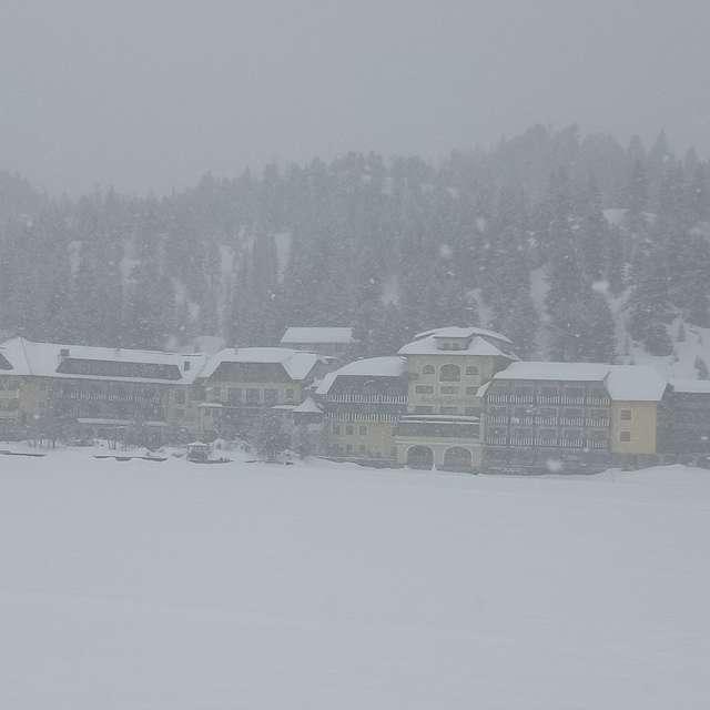 Hotel in snowfall