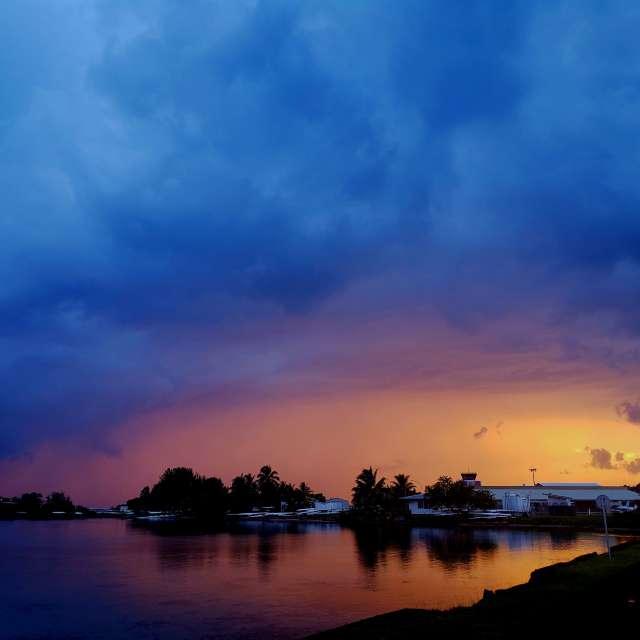Rainy sunrise over Tahiti