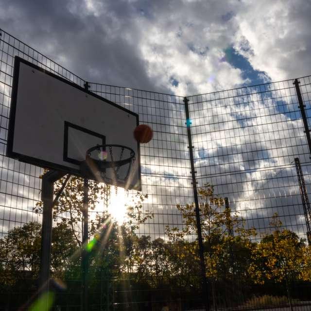 Flying Basketball in sun rays