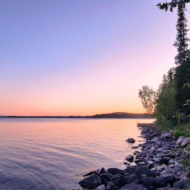 Sunset by the lake at Kuusamo