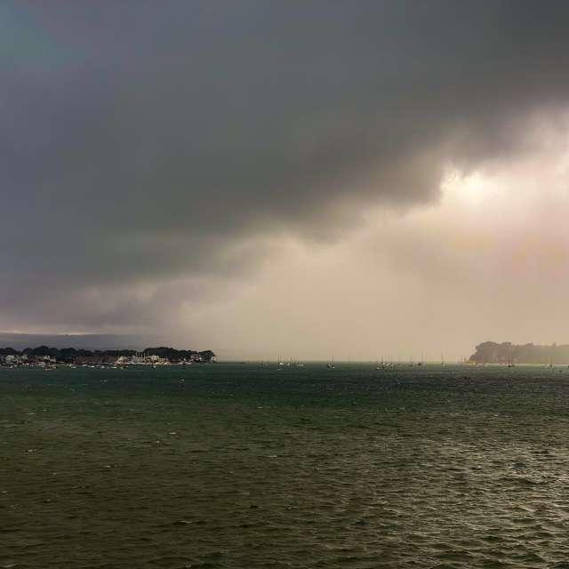 Sandbanks in rain