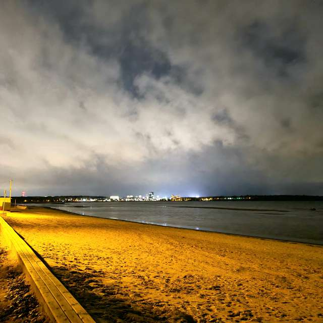 View of the beach at night